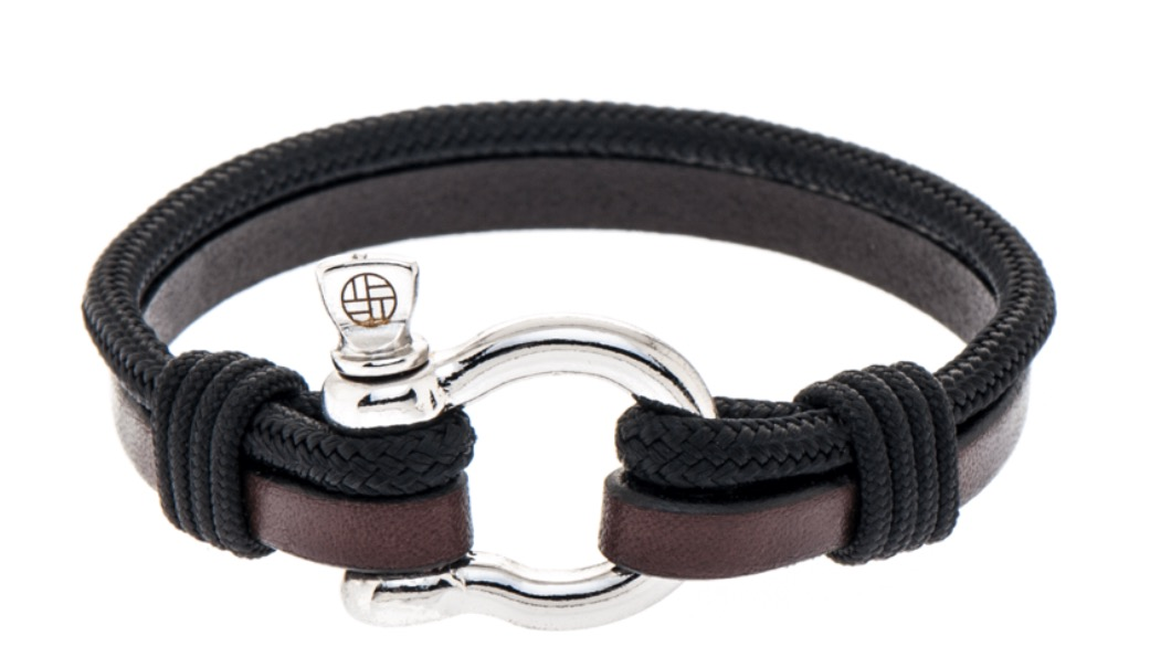 armband touw met leer en rvs harpsluiting
